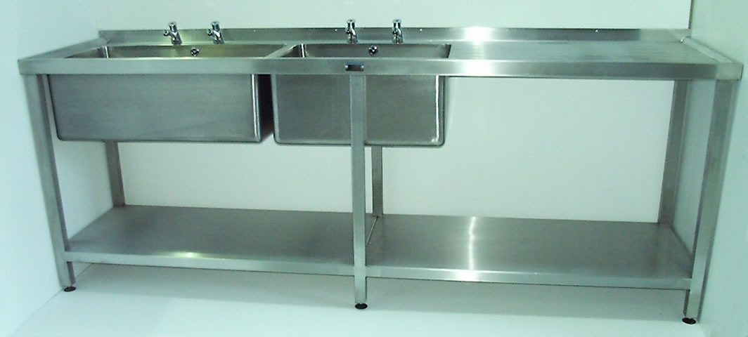 Double Bowl Catering Sink Unit with Single Drainer